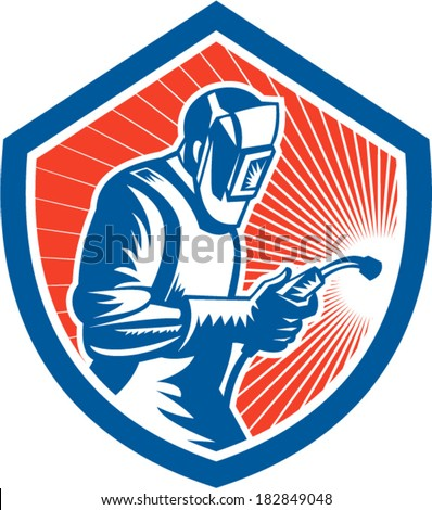 Illustration of welder worker working using welding torch viewed from side set inside shield on isolated background done in retro style. - stock vector