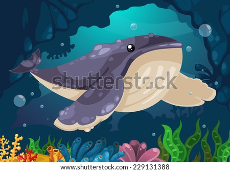 illustration of whale under the sea vector - stock vector