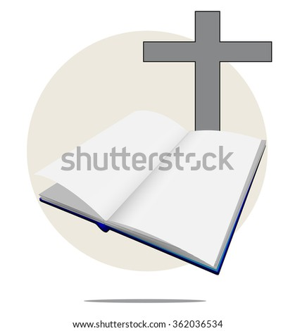 Illustration of white bible with cross - stock vector