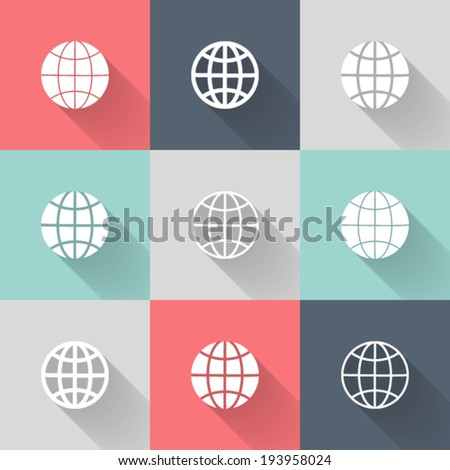 Illustration of White globe icon set