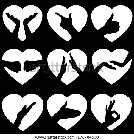 Illustration of 9 White Hearts with Black Hand Silhouettes, Vector - stock vector