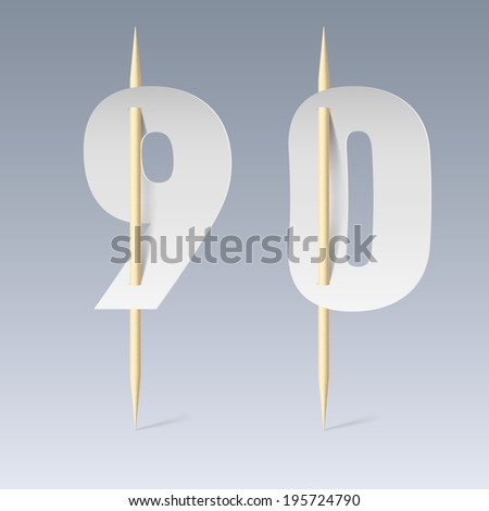 Illustration of white paper cut font on toothpicks on grey background. 9 and 0 numerals - stock vector