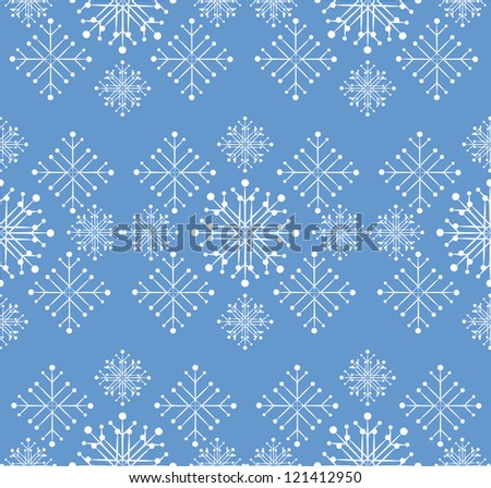 Illustration of white snowflakes on blue background.
