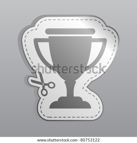 Illustration of white sticker cup icon - stock vector