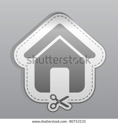 Illustration of white sticker home icon - stock vector