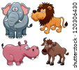 illustration of Wild animals cartoons - stock vector