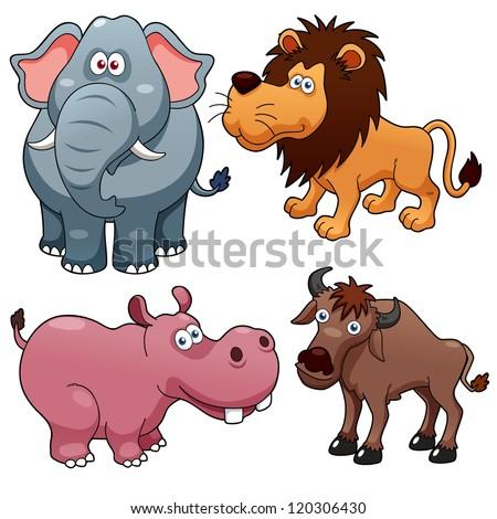 illustration of Wild animals cartoons - stock vector