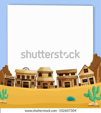 Illustration of wild west on paper - stock vector