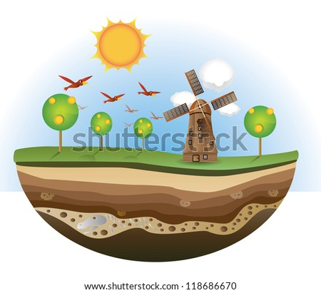 Illustration of wind mill and tree on the island, soil section. - stock vector