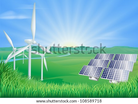 Illustration of wind turbines and solar panels generating renewable energy - stock vector
