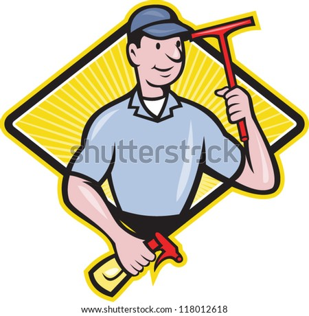 Illustration of window cleaner with squeegee and spray bottle set inside diamond shape done in cartoon style.