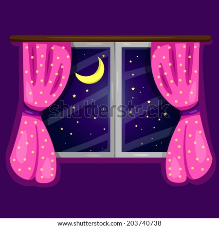 illustration of window with curtain in purple room  - stock vector