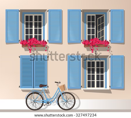Illustration of windows with shutters and bicycle - stock vector