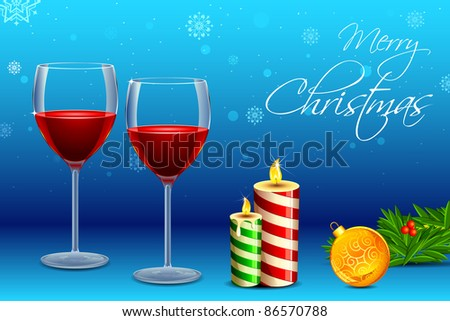 illustration of wine glass with with decorative candle and christmas ball - stock vector
