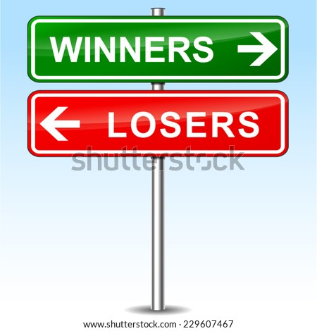 illustration of winners and losers directional sign