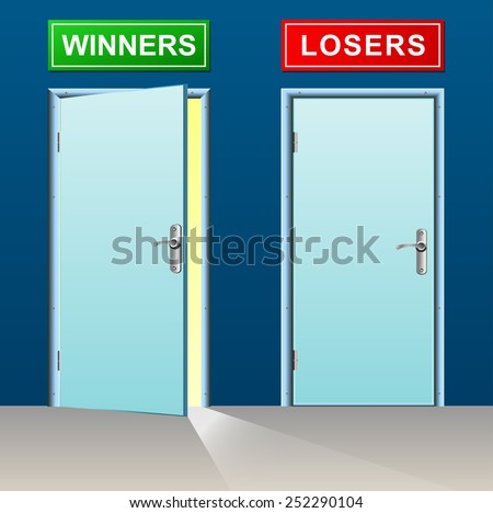 illustration of winners and losers doors concept