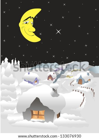 illustration of winter night in the village with the moon