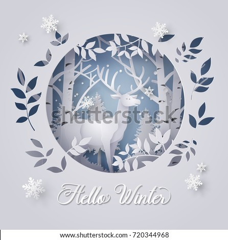 Illustration of winter season and Christmas day Deer in forest with snow.vector paper art and  digital craft style.