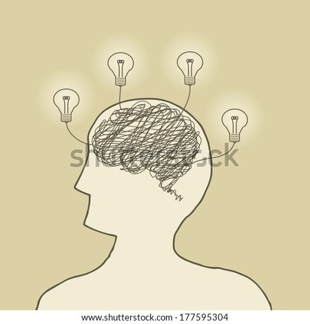 Illustration of wire brain with bright lightbulbs - stock vector