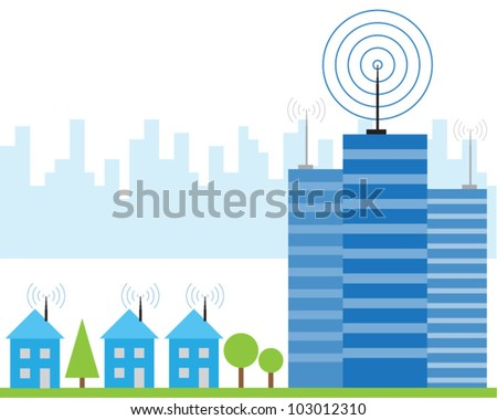 Illustration of wireless signal of internet into houses in city - stock vector