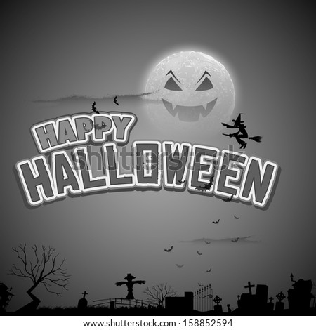 illustration of witch flying in Happy Halloween Background - stock vector