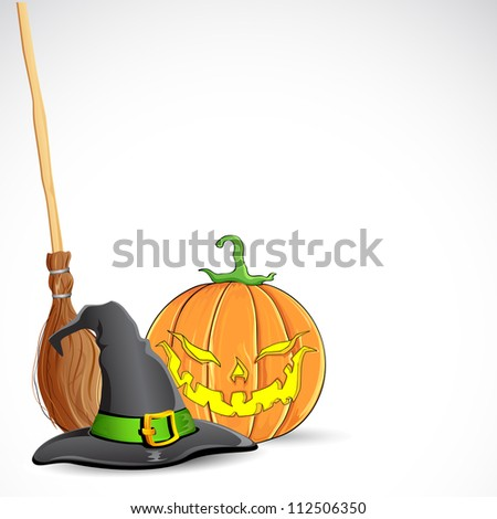 illustration of witch hat on pumpkin for halloween - stock vector