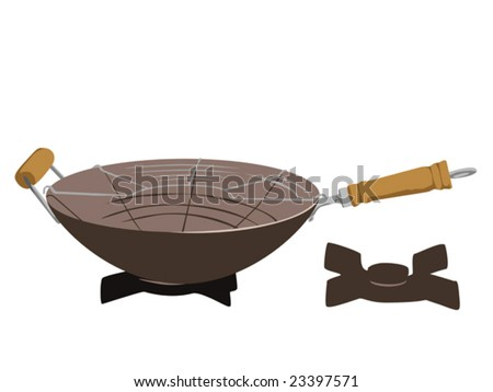 illustration of wok on the oven - stock vector
