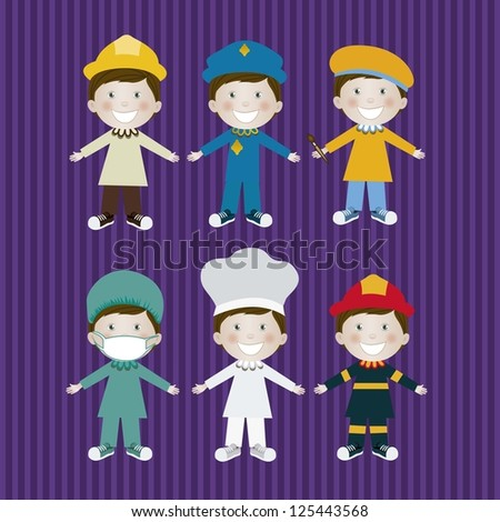 Illustration of woman in different professions, in cartoon style and design, vector illustration - stock vector