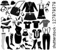 Illustration of Woman's clothes, Fashion and Accessory icon set - stock vector