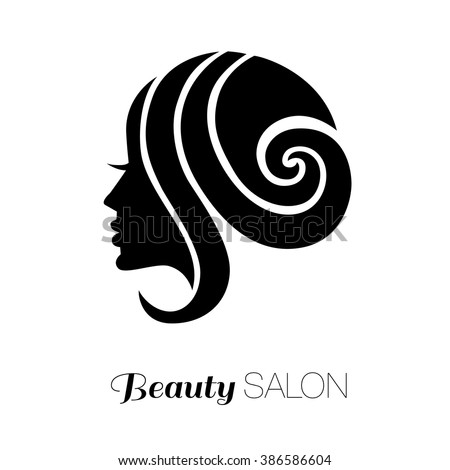 Illustration of woman with beautiful hair - can be used as a logo for beauty salon