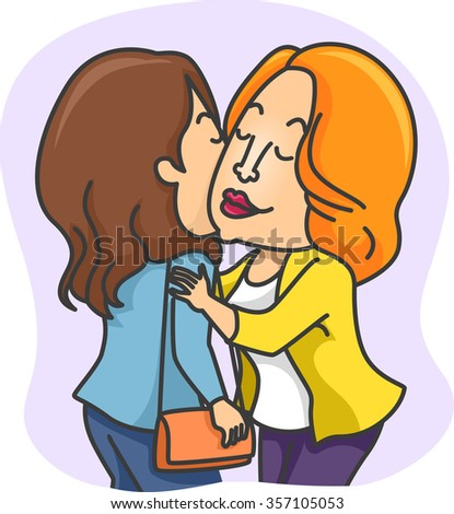 Illustration women greeting each other kiss stock vector 357105053 illustration of women greeting each other with a kiss on the cheeks m4hsunfo