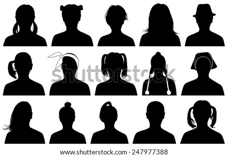 Illustration of women portraits isolated on white