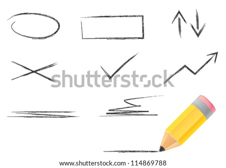 Illustration of wood pencil and line icons set. Isolation set. - stock vector