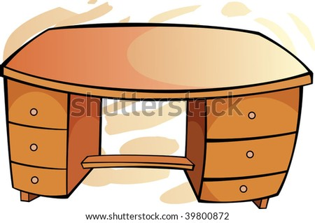 Illustration of  wooden moving table