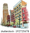 Illustration of Woodward Avenue in downtown Detroit, Michigan, USA. - stock vector