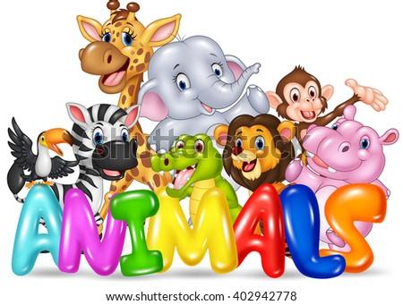 Illustration of Word animal with cartoon wild animal - stock vector
