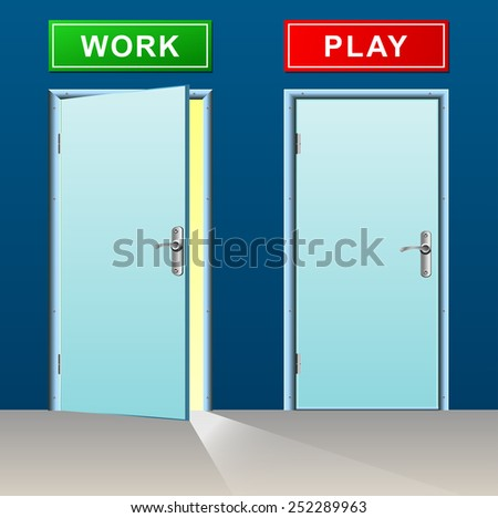 illustration of work and play doors concept