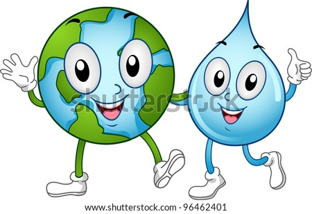 Illustration of World and Water Mascots Walking Together - stock vector