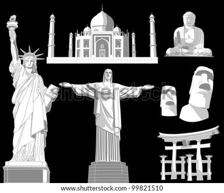 illustration of world famous monument - stock vector