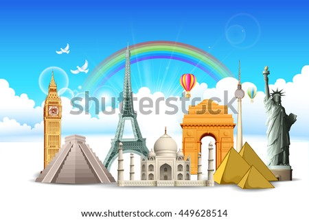 illustration of world famous monument in cloudscape for travel concept - stock vector