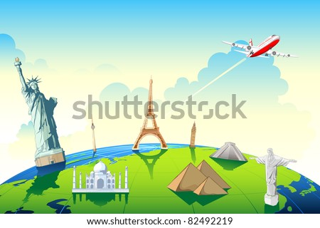 illustration of world famous monument on globe showing world travel - stock vector