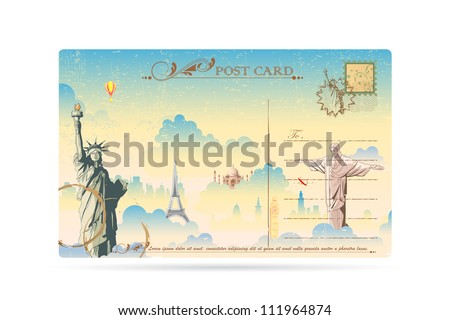illustration of world famous monument on travel postcard - stock vector
