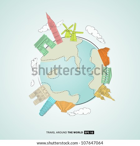 illustration of world famous monuments around globe - stock vector