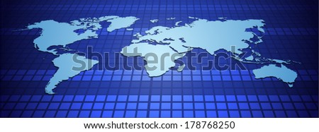 Illustration of World Map on Blue Background .Digital communication technology concept. Vector  file.
