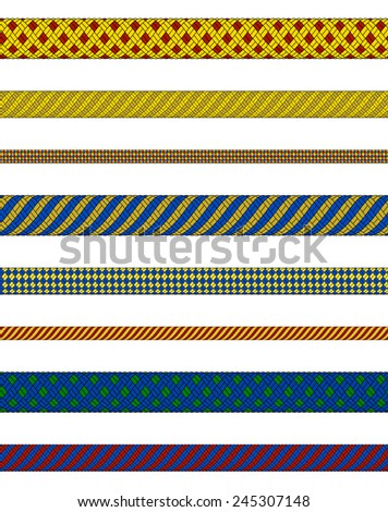 Illustration of woven ropes in various colors isolated  - stock vector