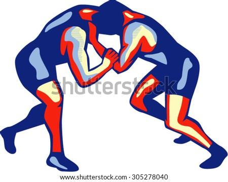 Illustration of wrestlers freestyle wrestling viewed from side on isolated background done in retro style. - stock vector