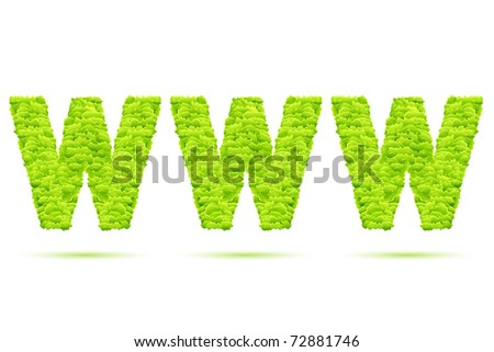 illustration of www formed by grass on white background - stock vector