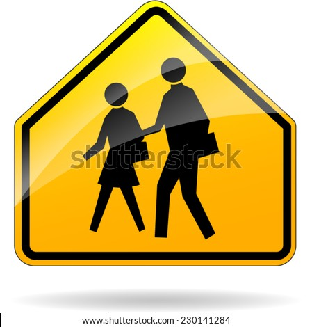illustration of yellow design sign for school zone - stock vector