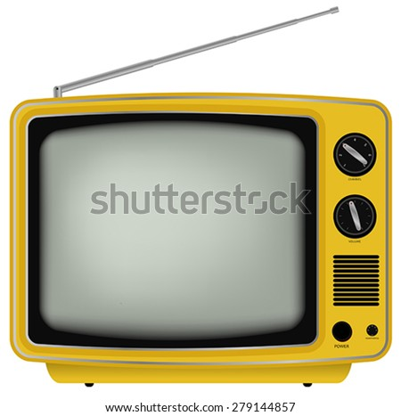 Illustration of Yellow Retro Television Isolated on White Background