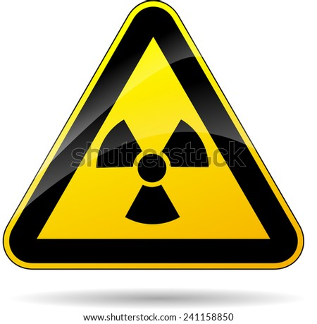 illustration of yellow triangle sign for radioactivity - stock vector